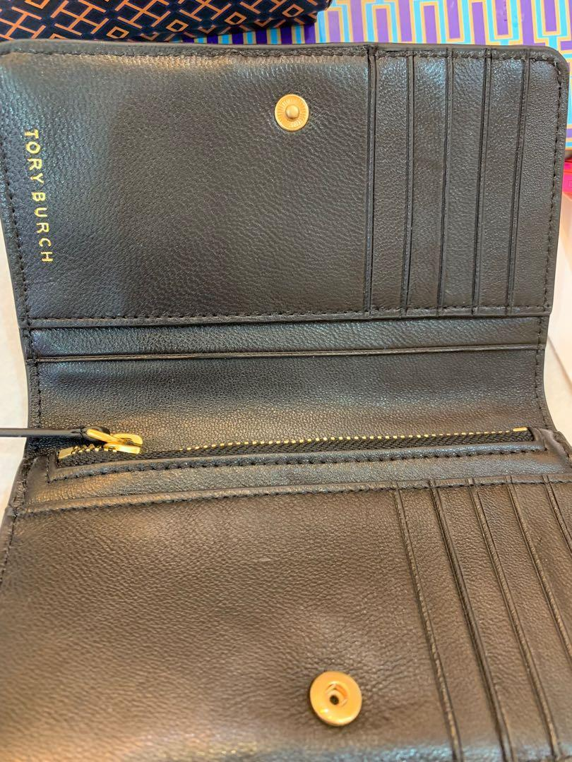 Authentic Tory Burch star Fleming stud medium slim wallet