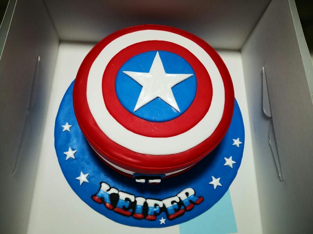 Amazing Captain America Customized Chocolate Birthday Cake Food Drinks Funny Birthday Cards Online Alyptdamsfinfo