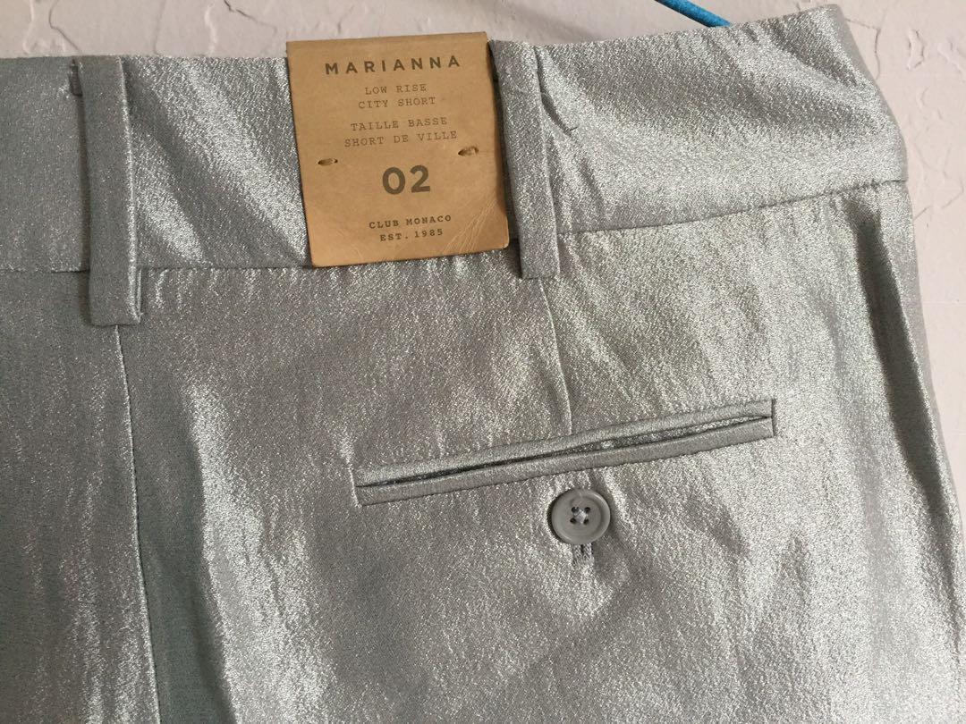 Club Monaco women's shorts low rise silver 女裝銀色低腰短褲