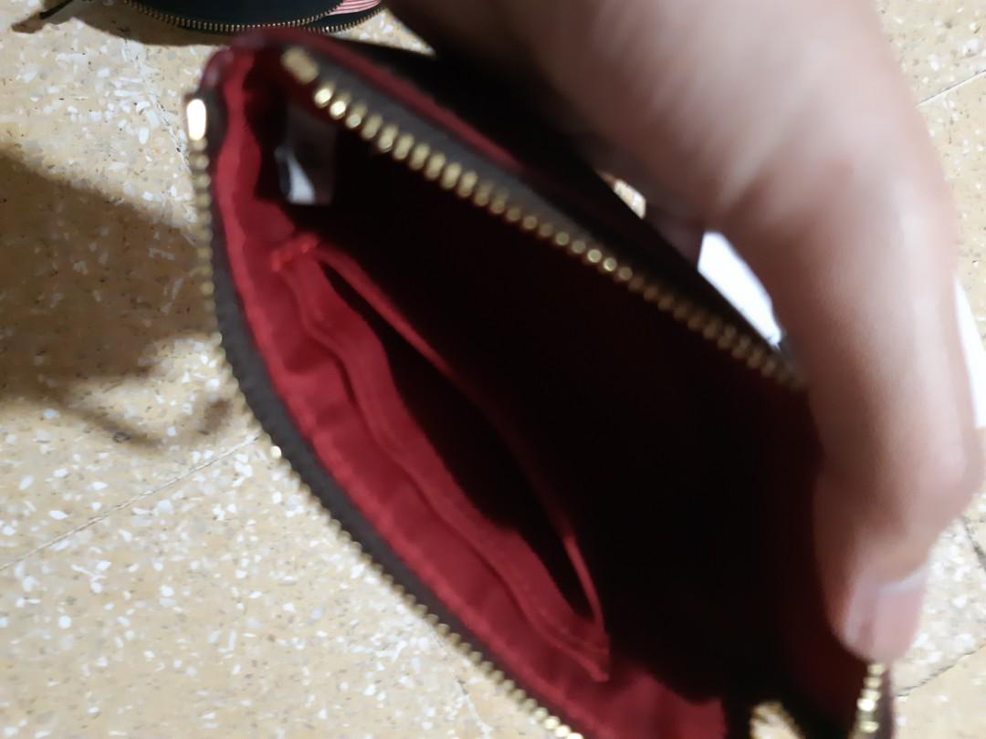 COACH Signature pvc leather corner zip small wrislet colour (red)