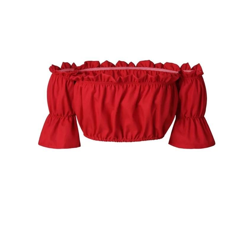 Crop tops women 2017 summer lantern sleeve sexy strapless beach tops plus size red black white ruched crop top tank top croptop