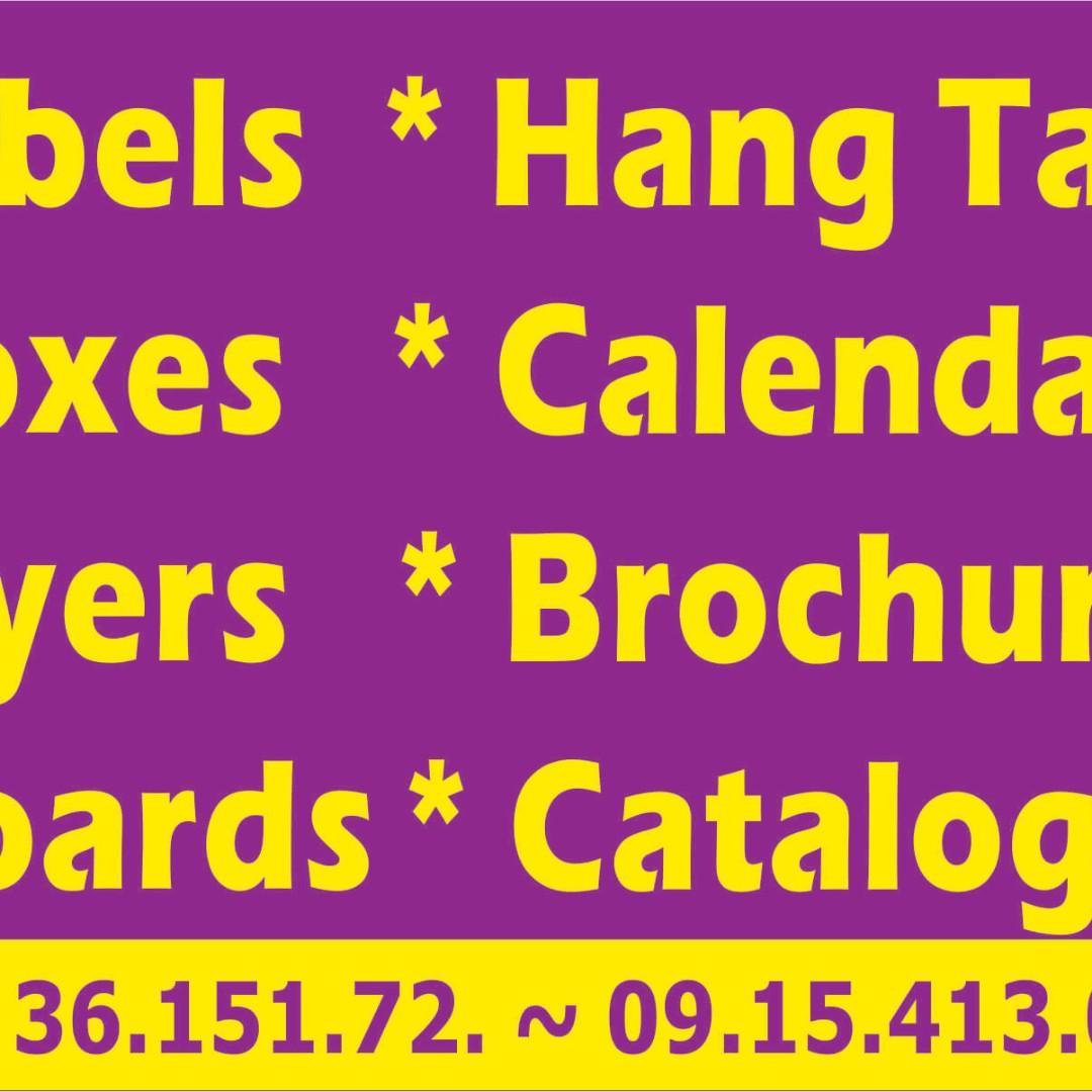 flyers calendar  newsletter placemat book hambox folder dangler wobbler  card workbook