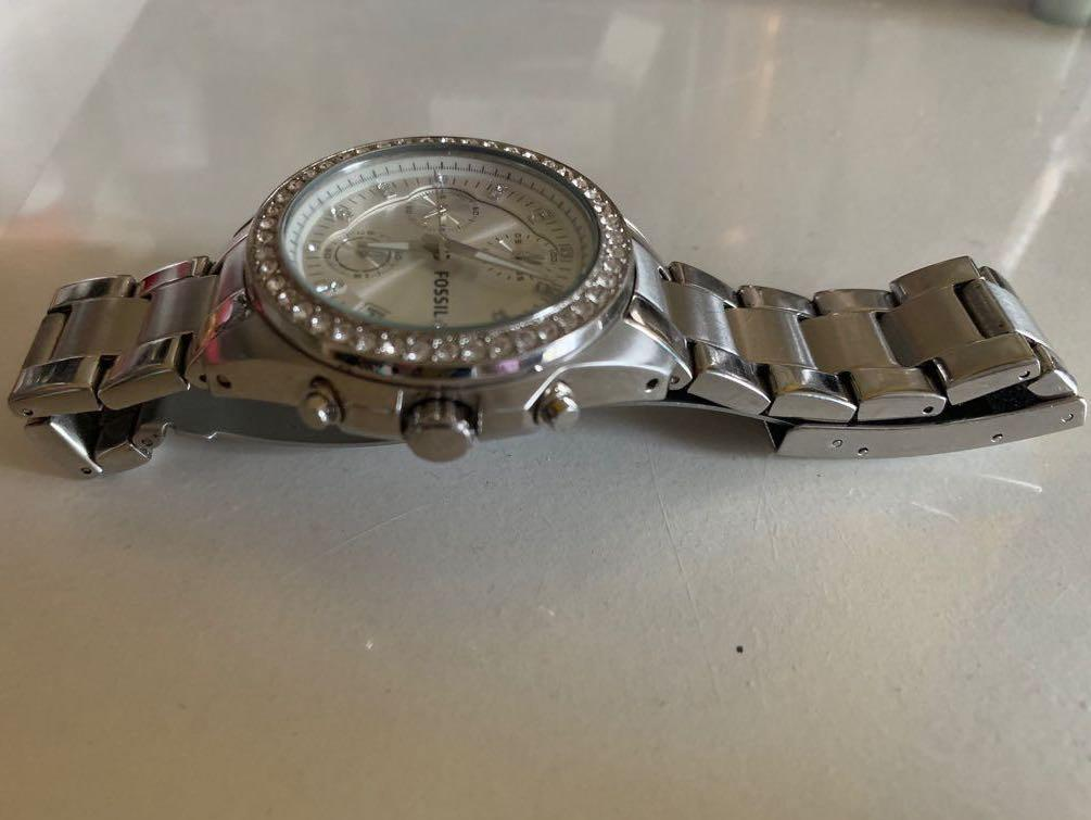 Fossil chronograph stainless steel with crystal accent