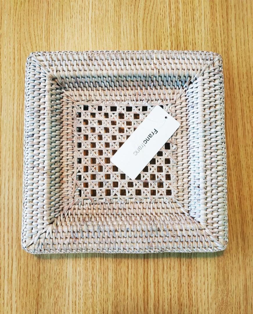 Francfranc Rattan Square Plate (Large)