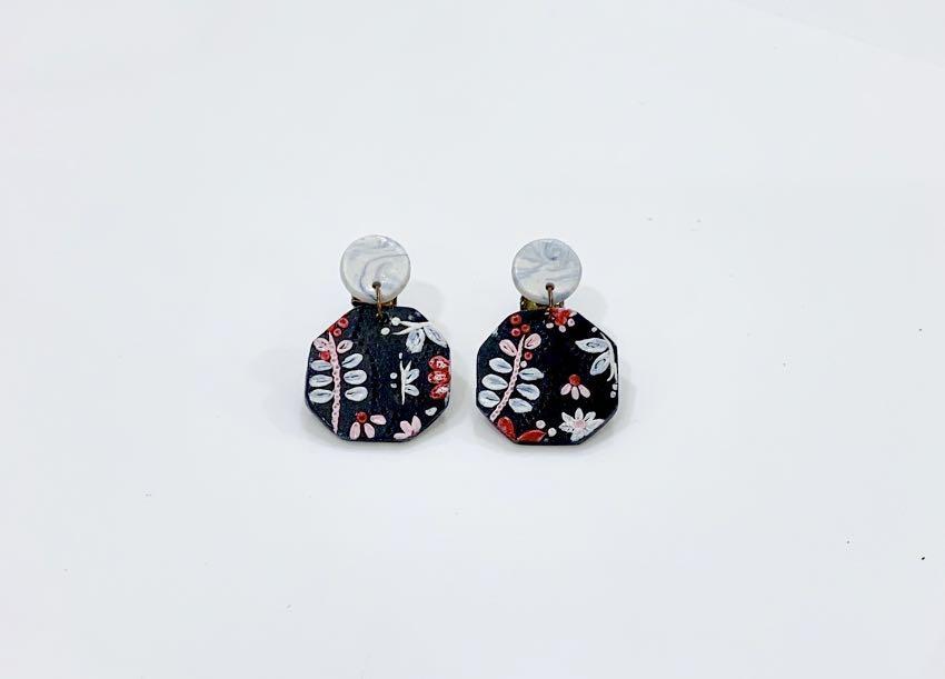 Handmade polymer clay earrings - Flowery Garden 2