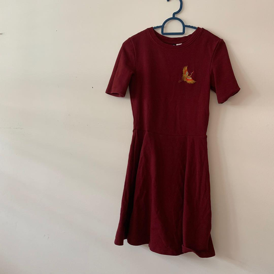 H&M Red Skater Dress with Preppy Logo, Women's Fashion