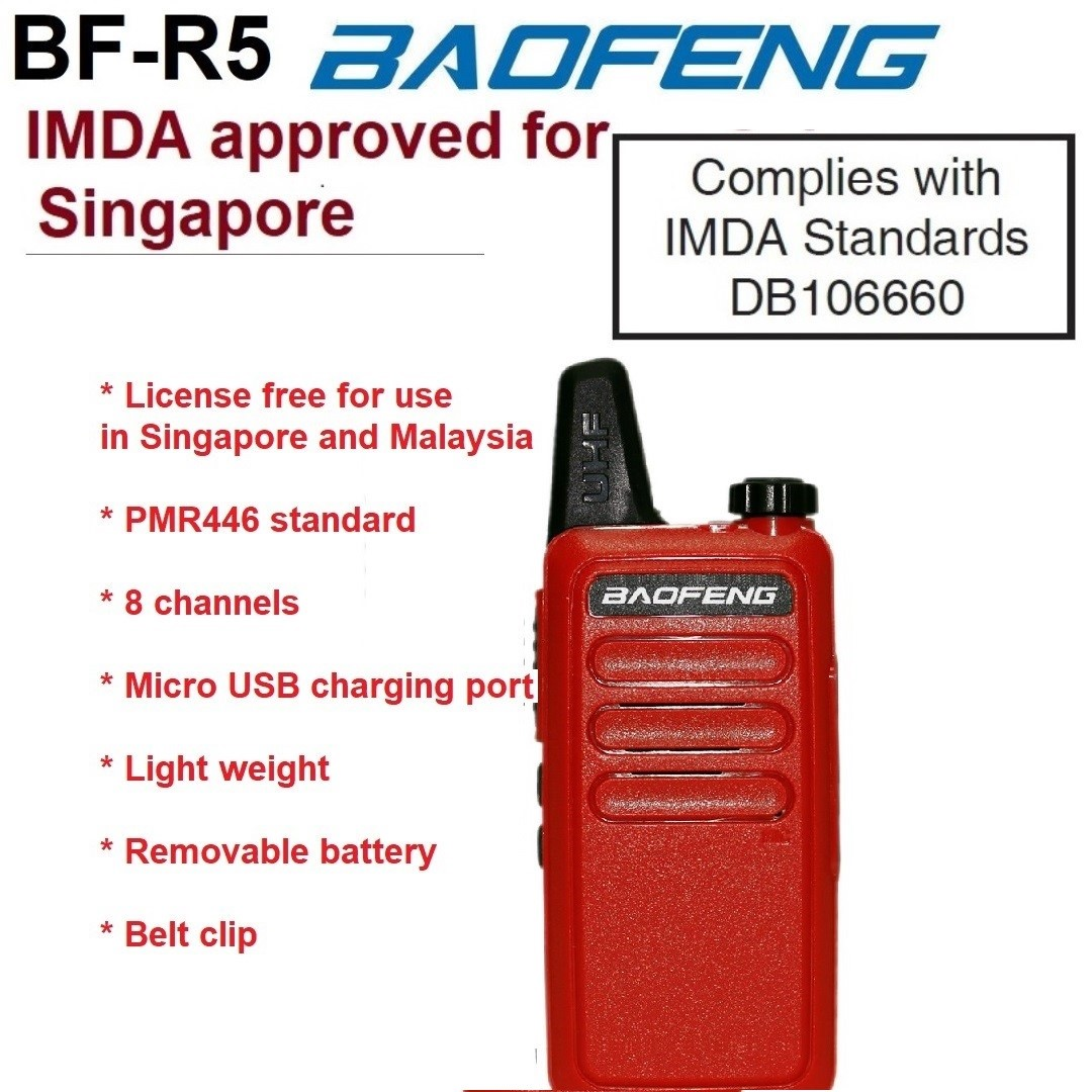 IMDA approved 1 pc BAOFENG BF-R5 red, 8 channels, License