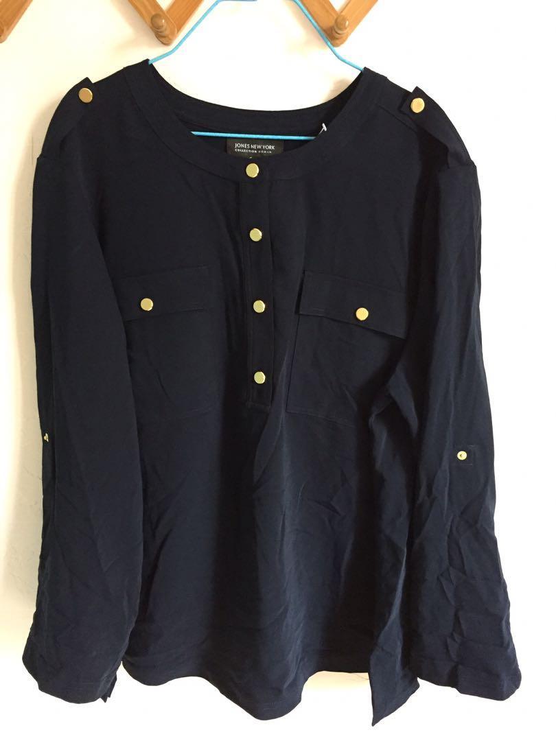 Jones New York women's top Navy 女裝藍色長袖上衣