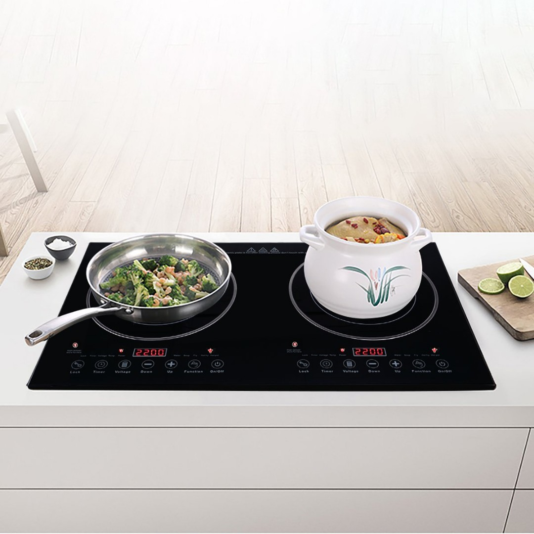 XGMY DT6 Double 2200W Burner Cooktop Radiationless Infrad Cooker Double Countertop Burners Built-in Ceramic hot plate for Any Cookware