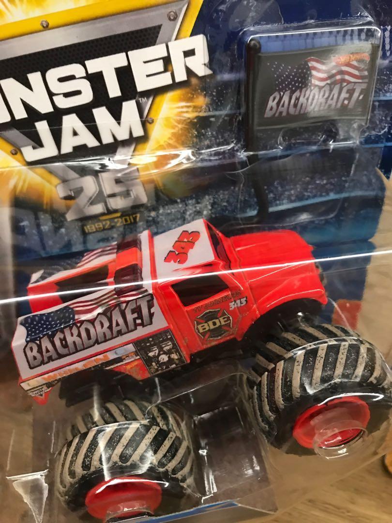 Monster Jam Backdraft Fire Engine Truck 1:64 Diecast, Toys