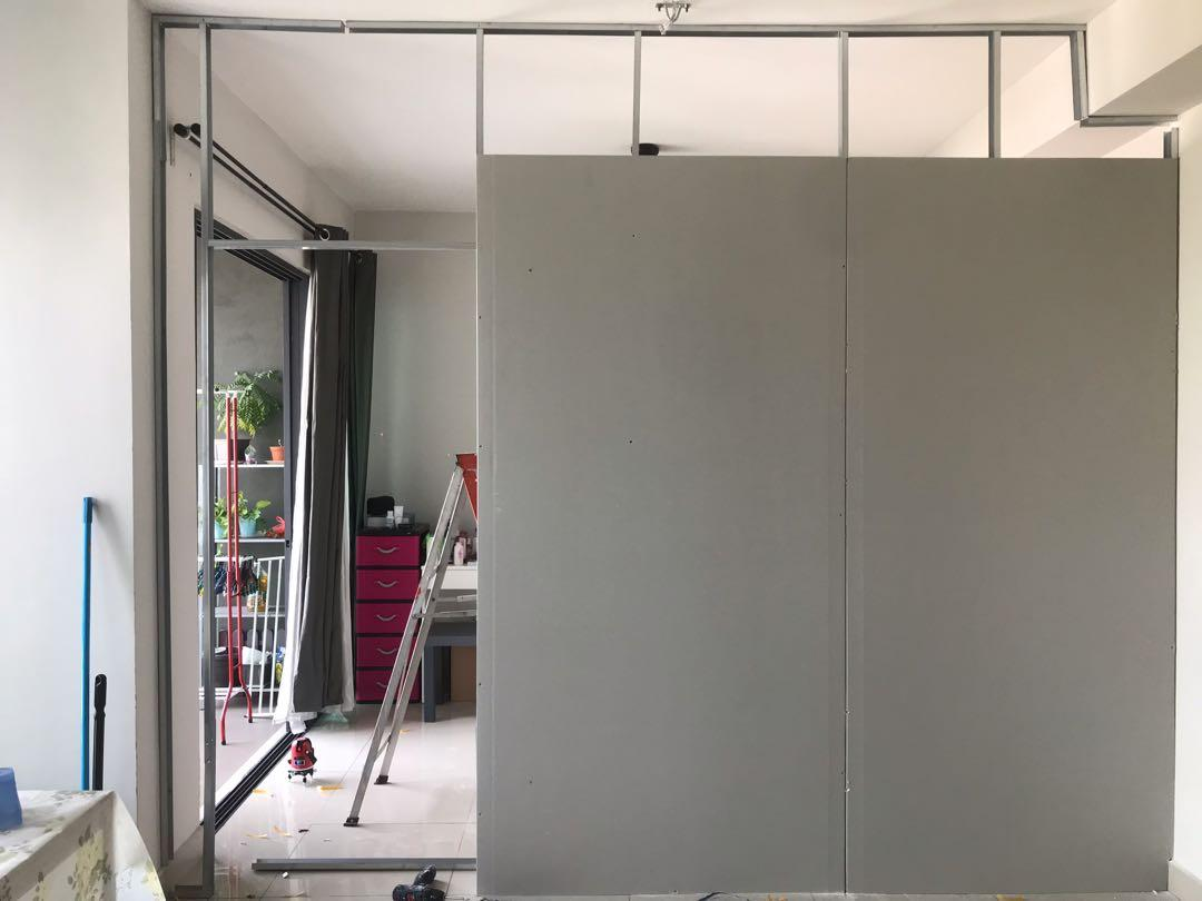 Partition Wall Drywall With Plastering Untuk Soho Sofo dan service apartment