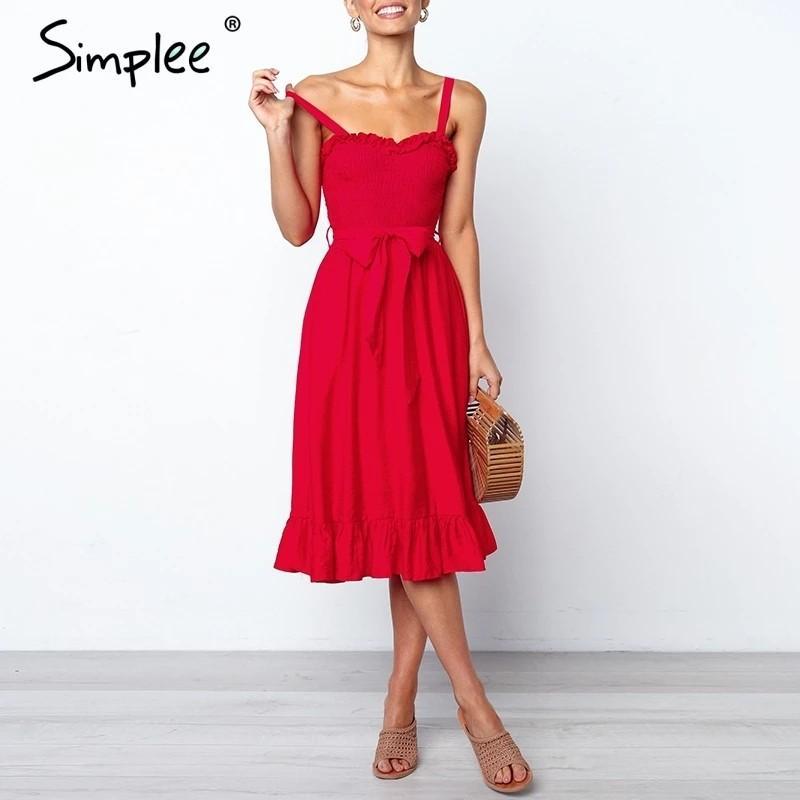 ruffle elegant dress women Ruched sashes bow cotton summer midi dresses Sexy solid female pink vestidos 2019