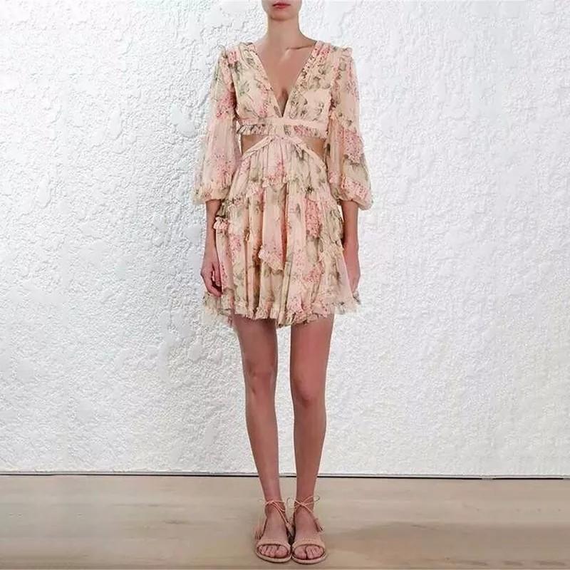 Sexy Print Dress Female Chiffon V Neck Hollow Out Lantern Sleeve High Waist Mini Dresses Summer Fashion Sweet New