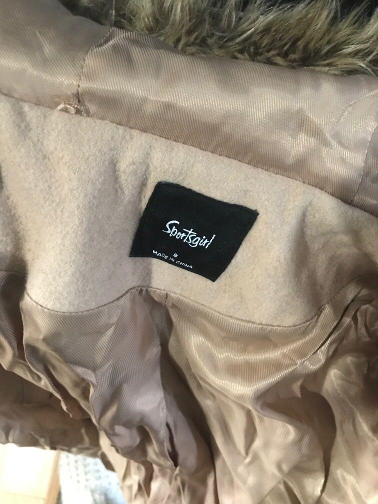 Sportsgirl wool coat jacket beige light brown cream coloured