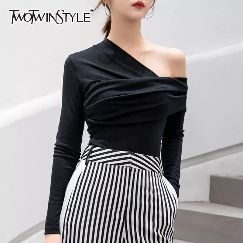 TWOTWINSTYLE Sexy Off Shoulder Asymmetric Women's T-shirts Tops Female Slim Long Sleeve Fashion Black Tshirt Autumn 2018