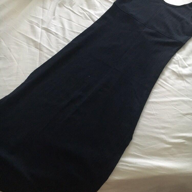 Vintage Country Road Dark Navy (Almost Black) Maxi Dress