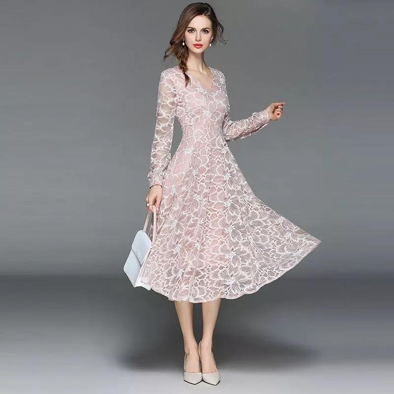 Women Casual Lace Dress New 2018 Autumn Fashion Long Sleeve V-neck Elegant Slim A-line Women's Party Dresses M398