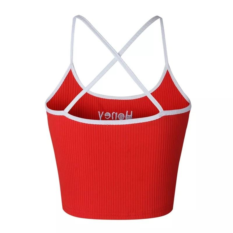 Women Honey Letter Strap Tank Tops 2018 Female Slip Crop Tops Sexy Camis Club Camisoles White Red Ladies Short Tight Shirt
