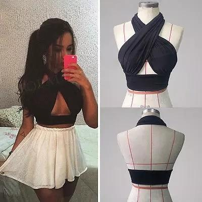 Women Strappy Cross Over Front Cut Out Halter Neck Sleeveless Crop Top Bandage Vest Summer Casual Loose Tops Black S-XL