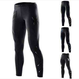 Gym Compression Pants Tights (Plus Size 2XL Black)