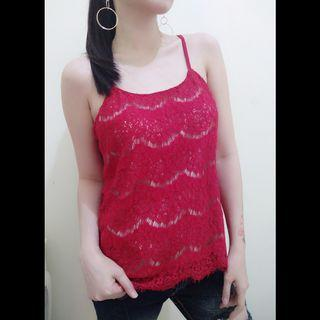 TANKTOP MERAH BROKAT STRETCH IMPORT