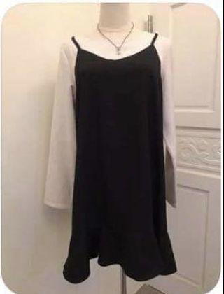 假兩件魚尾裙小洋裝連身裙/S
