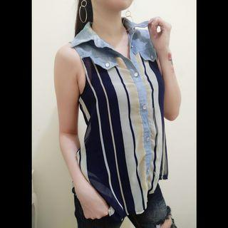BLOUSE DENIM CHIFFON IMPORT