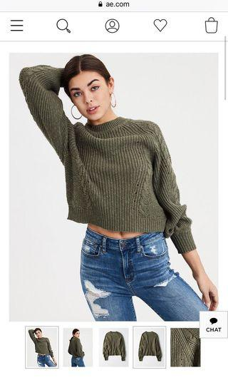 American Eagle Camo Green Sweater