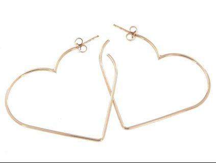 🚚 Italian Rose Gold / Yellow Gold plated on Sterling 925 Silver Heart Earrings