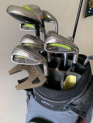 Golf set - Nike Slingshot graphite  irons, Callaway bag and driver