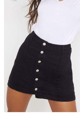 PLT Black Denim Skirt