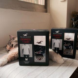 Hollister v領 短袖上衣 素t logo 3件組 m