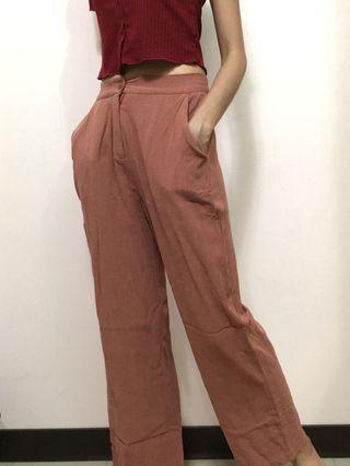 蝦紅色 麻感寬褲 夏季