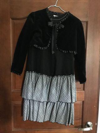 專櫃童裝🐰黑色古典格紋洋裝(有配一件天鵝絨小外套)