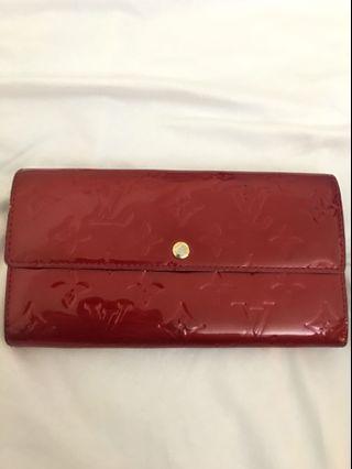 Authentic Louis Vuitton Red Vernis Long Wallet