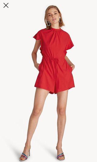 Pomelo Ruffle Sleeve Drawstring inget Red