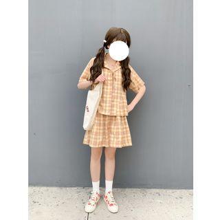 (現貨)日系 格子 襯衫 褲裙 套裝 居家服