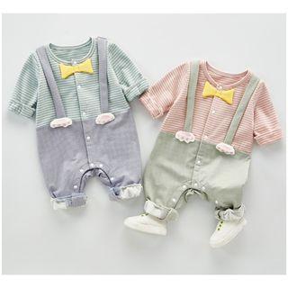 【嬰幼兒】日系 貓咪 假兩件式 吊帶 長袖 嬰兒 幼兒 連身衣