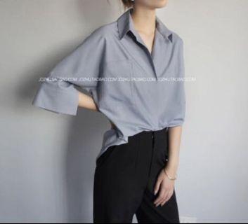 夏季薄料 抗皺襯衫,寧靜藍、霧藍