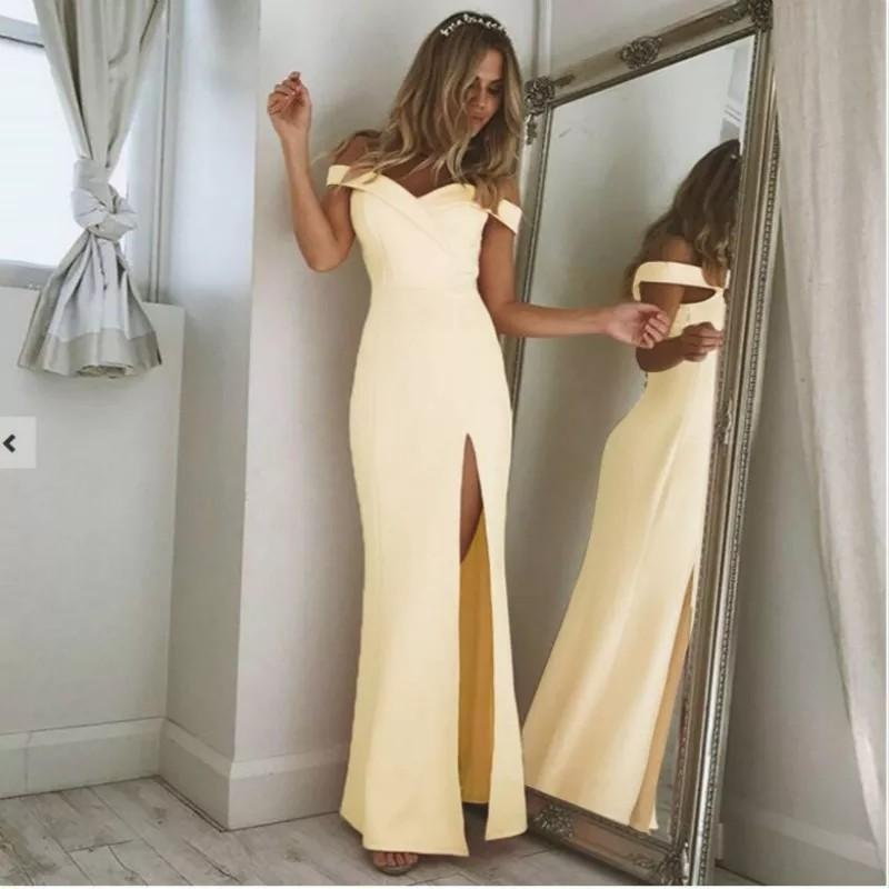 2018 New Taxi Long Dress Elegant Women Off the Shoulder Strapless Straight Party Dress Female