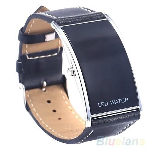 2018 Popular New Brand Luxury Men's Women's LED Digital Date Rectangle Dial Faux Leather Strap Wrist Watch
