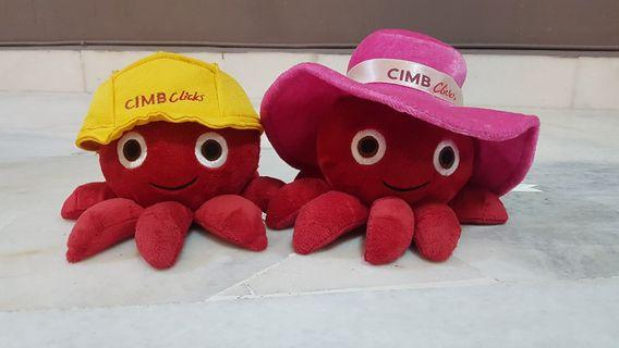 CIMB Clicks Octopus limited edition doll toy 2 in 1 set