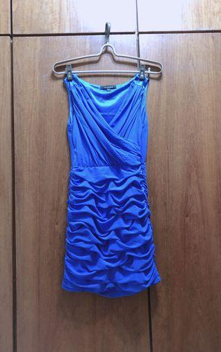 Le Polka 藍色抓皺小禮服