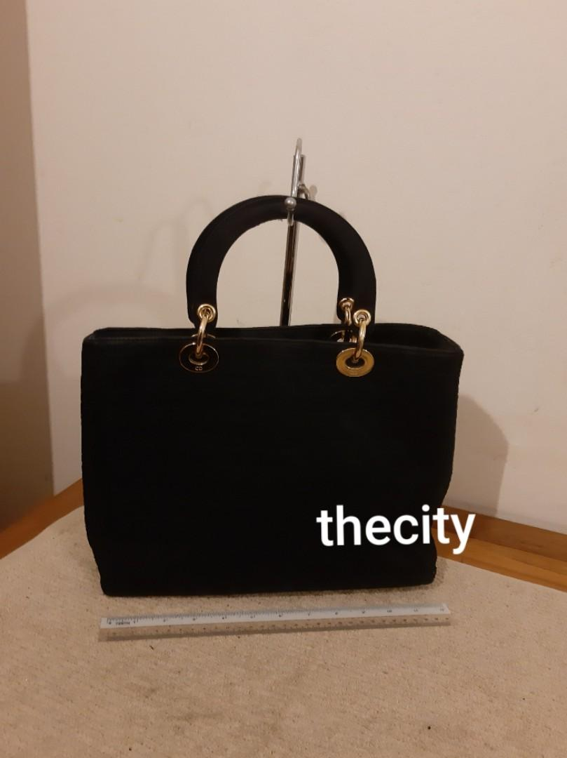 AUTHENTIC DIOR,  LARGE LADY DIOR - BLACK SUEDE MICROFIBER - GOLD HARDWARE - CLEAN INTERIOR, COMES WITH BRAND NEW PAIR OF SILK TWILLY HANDLE SCARVES - (LADY DIOR BAGS NOW RETAIL AROUND RM 17,000+)