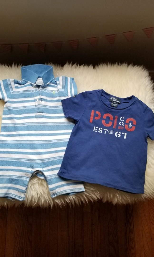 Baby clothes clothing lot size 1T to 2T. 12mths to 24mths. New condition. Ralph Lauren polo purchased new for $39. Now $15 and t-shirt new condition purchased for $24 now $7. Or take both for $18. Pick up Gerrard and main or 20 bay