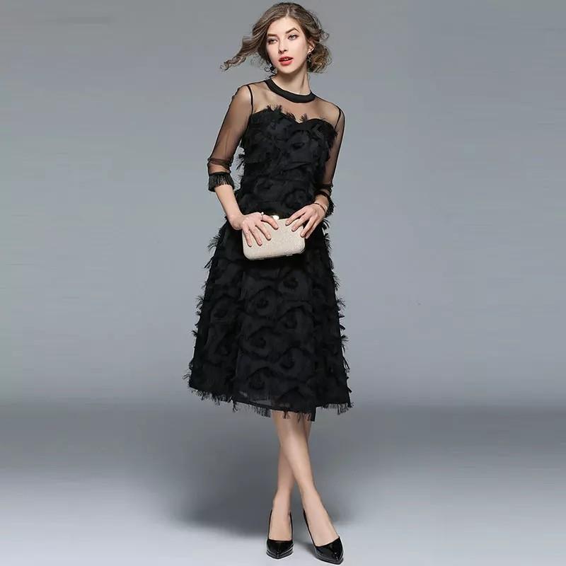 Borisovich Luxury Women Evening Party Dresses New Arrival 2017 Spring Fashion Tassel O-neck Elegant Black Female