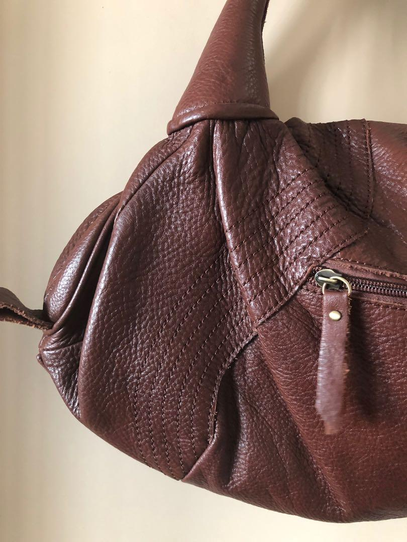 Brown leather bag, worn once