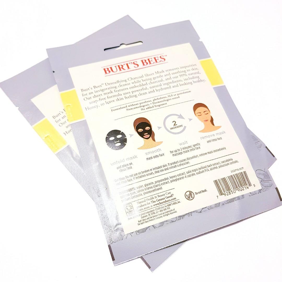 Burt's Bees 99% Natural Detoxifying Charcoal Facial Sheet Mask With Honey