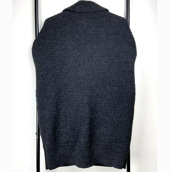 Decjuba S/M Alpaca wool blend black dark grey basic chunk knit vest jacket coat