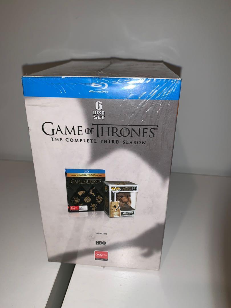 Game of Thrones Viserion Pop Vinyl with Season 3 Blu Ray Bundle